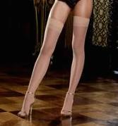 Sheer Thigh High W/Back Seam - Nude O/S