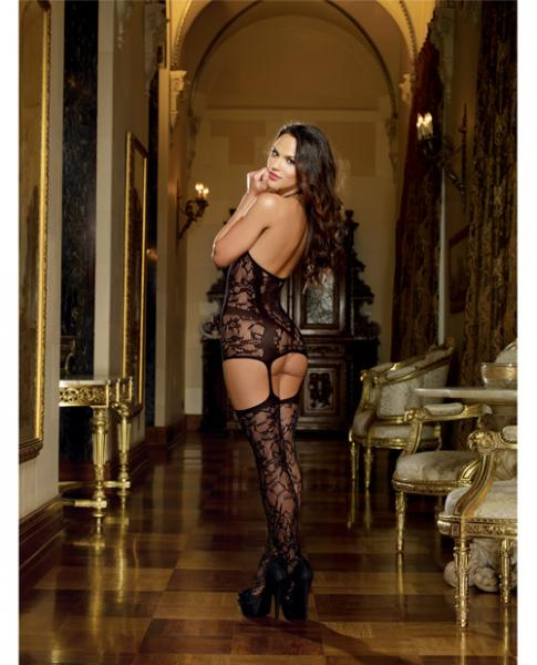 Lace Fishnet Halter Garter Dress Stockings Black O/S