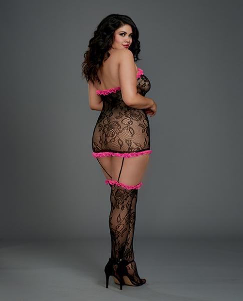 Lace Halter Garter Dress & Thigh High Stockings Black Pink Qn