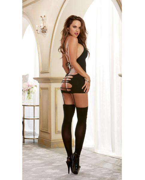 Seamless Halter Dress, Garters & Stockings Black O/S