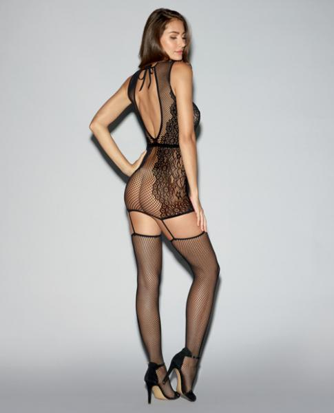 Fishnet, Knitted Lace Garter Dress Open Back & Thigh Highs Black O/S
