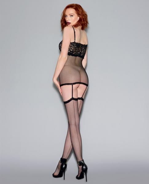 Fishnet Garter Dress Lace Cups & Thigh Highs Black O/S