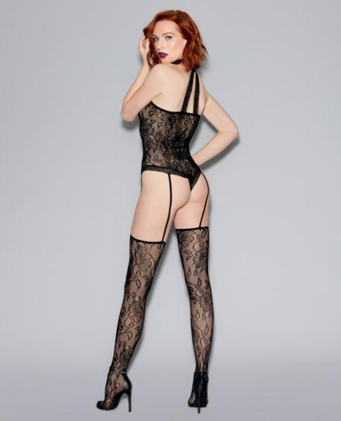 Fishnet Lace Teddy Bodystocking & Attached Thigh Highs Black O/S