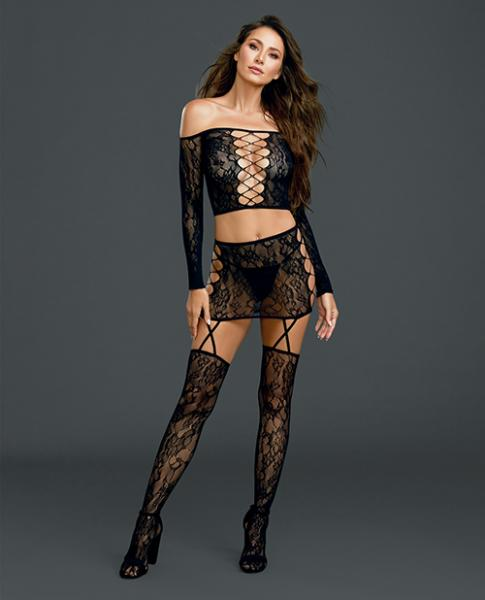 Lace Long Sleeve Crop Top, Garter Skirt & Stockings Black O/S