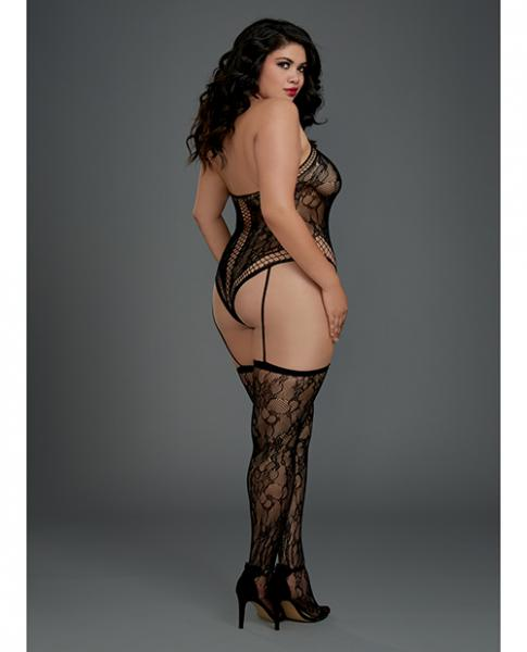 Lace Halter Teddy Bodystocking Garters & Thigh Highs Black Qn