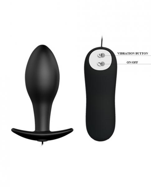 Pretty Love Vibrating Bulb Shaped Butt Plug Black