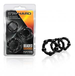Beaded C Rings 3 Pieces  - Black