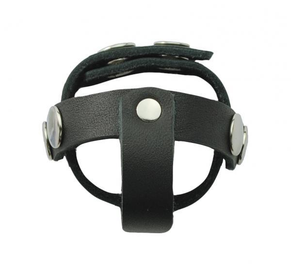 T Style Ball Divider Leather Snap Closure Black