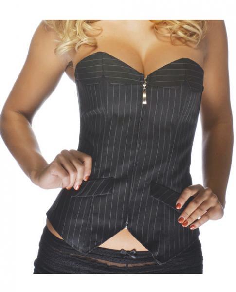 Office Girl Corset Zip Up Front Pinstripe Black 8-10