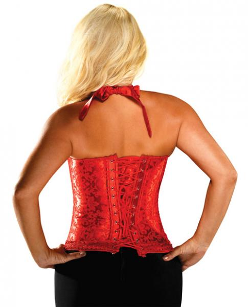 Halter Floral Print Corset Acrylic Boning Red 40