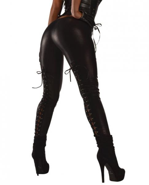 Wet Look Leggings Lace Up Back Black Large
