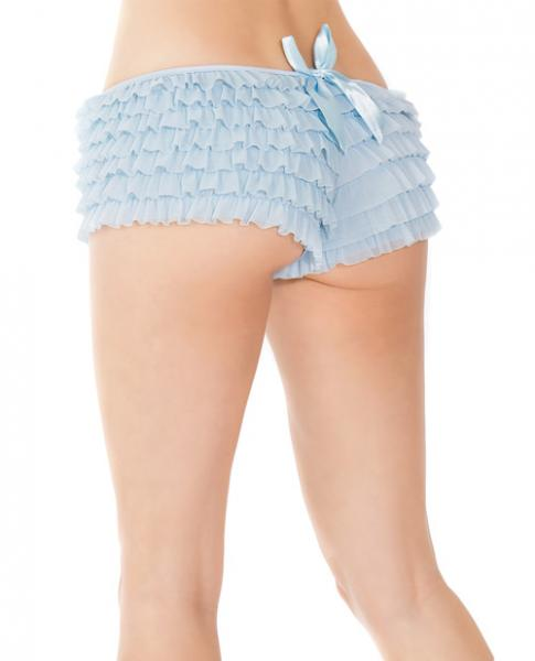 Ruffle Shorts Back Bow Detail Blue O/S