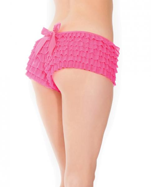 Ruffle Shorts Back Bow Detail Neon Pink O/S