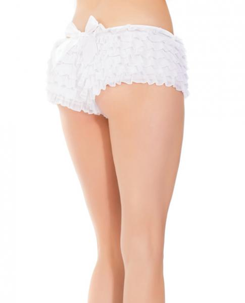 Ruffle Shorts Back Bow Detail White O/S