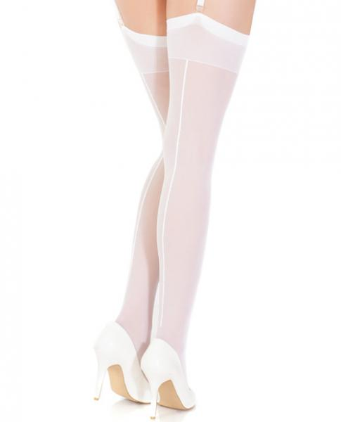 Sheer Thigh High Stockings with Back Seam White O/S