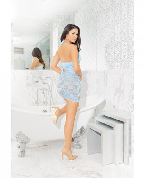 Lace Knit Halter Chemise Empire Waist Blue O/S