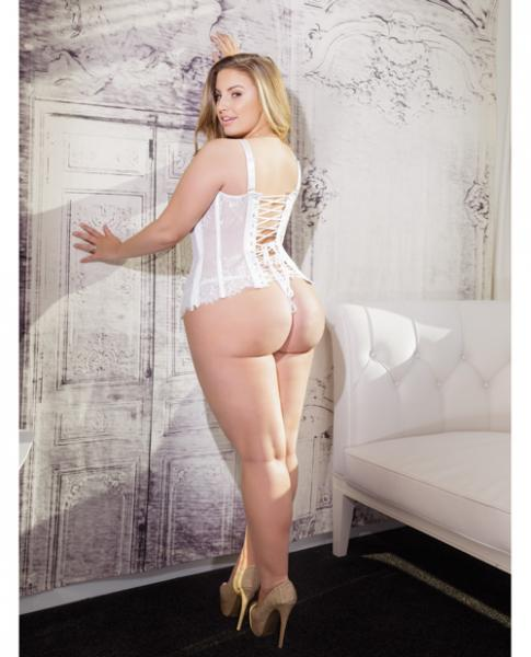Fused Lace Bustier, Boning & Lace Up Back White 1X/2X
