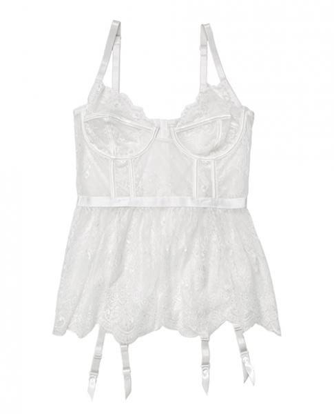 Lace, Powernet Underwire Cups Peplum Bustier White Lg