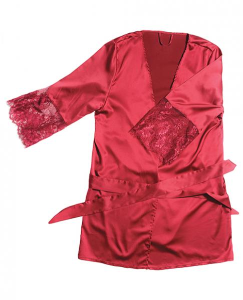 Satin Robe Lace Details Sleeves Red OS/XL