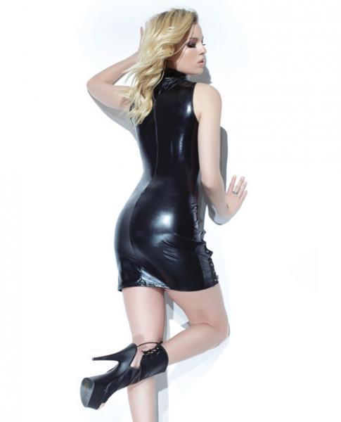 Darque Wet Look Sleeveless Dress Lace Up Back Zipper Black XL