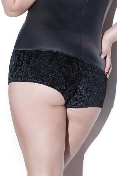Darque Matte Wet Look Booty Short W/embossed Velvet Black Qn