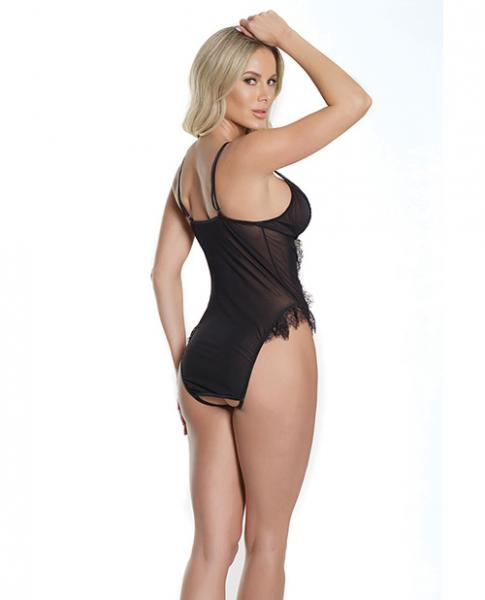 Fashion Frilly Lace Crotchless Teddy Black O/S