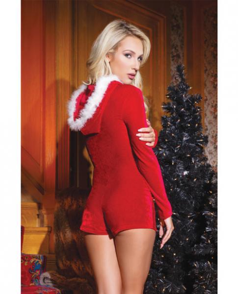 Holiday Velvet Hooded Romper Trim, & Pom Poms Red OS