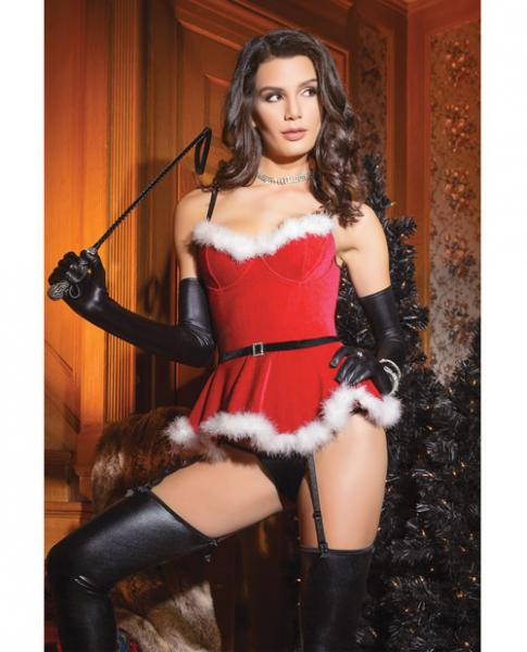 Holiday Velvet Bustier & Removeable Garters Red Large