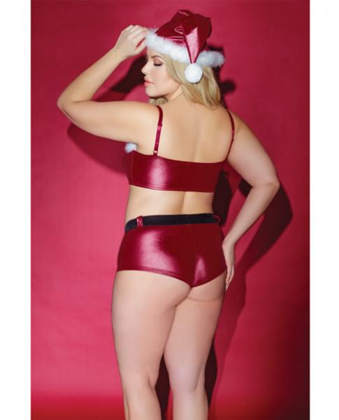 Holiday Matte Bandeau Top & Booty Shorts Red Black Qn