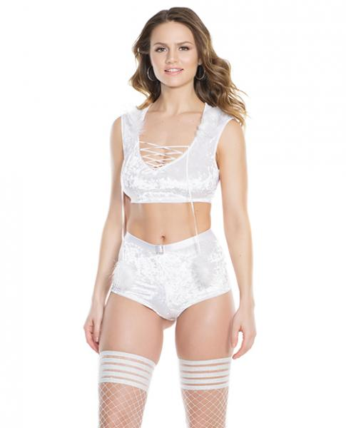 Velvet, Faux Fir Crop Top & Booty Shorts White Silver OS
