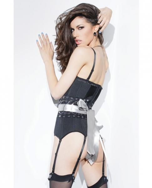Spellbound Fully Boned Corset, Garters & Ribbon Black Md