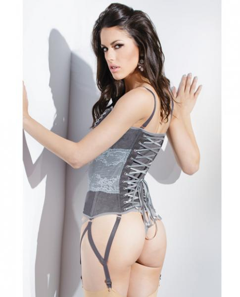 Spellbound Stretch Knit Corset & Garters Silver XL