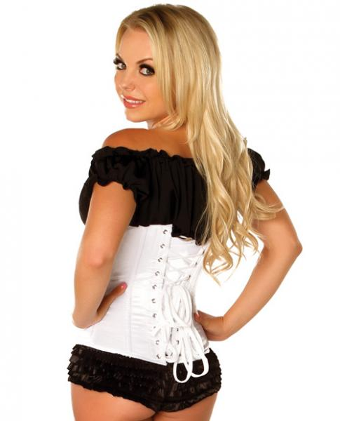 Underbust Corset Zip Up Front White Large