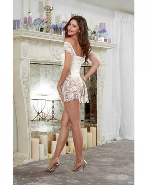 Venice Lace Fully Boned Corset Skirt & Thong Pearl 38