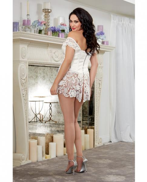 Venice Lace Fully Boned Corset Skirt & Thong Pearl 40