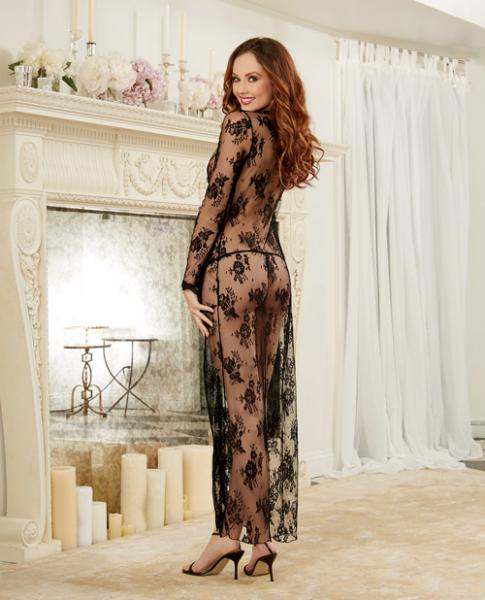 Delicate Lace Open Front Gown, G-String Black Sm