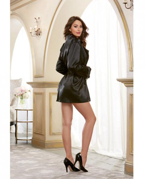 Satin Charmeuse Robe Trench Coat Style Belt Black XL