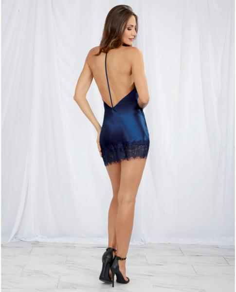 Silky Satin Chemise Cowl Neck, T-Back Strap & Lace Blue Lg