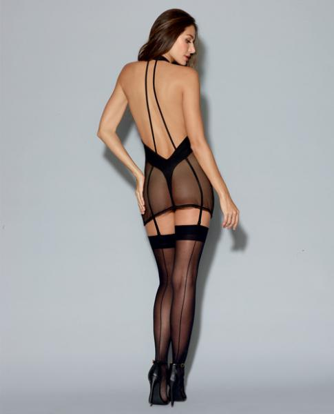 Two Layer Garment Fishnet Halter Chemise with Teddy Black Sm