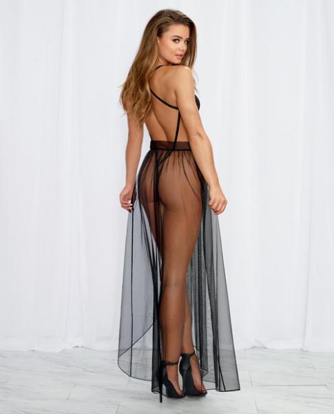 Lace Teddy, Sheer Mesh Maxi Skirt & G-String Back Black Sm