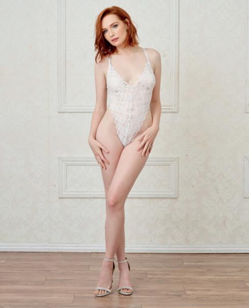Lace Teddy, Mesh Maxi Skirt & G-String White Lg