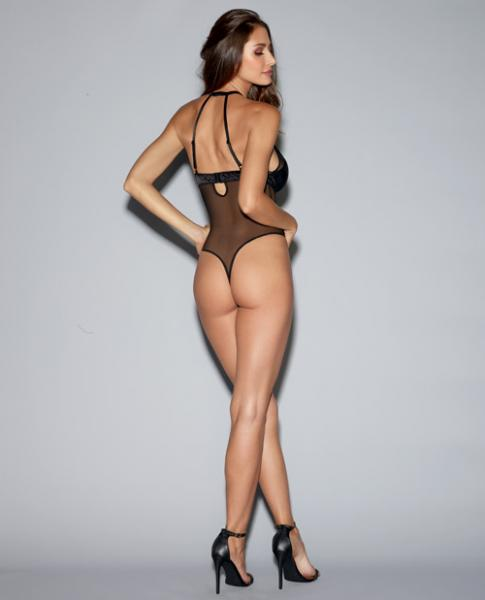 Mesh Teddy Adjustable Straps, Underwire Cups & Snap Crotch Black Md