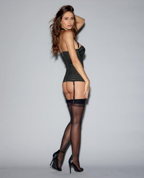 Bandage Style Bustier Underwire Cups, Garters Black 38