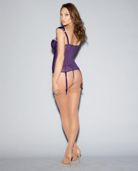 Lace Bustier, Mesh Partial Satin Lining, Boning, Garters Purple 32
