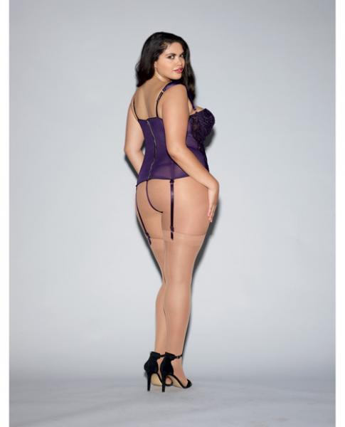 Lace Bustier, Mesh Partial Satin Lining, Boning, Garters Purple 42