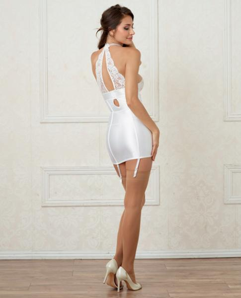 Satin Lace Chemise Faux Pearl Collar & Garters White XL
