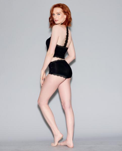 Spandex Jersey Camisole Lace T-Black & Snap Side Panty Black XL