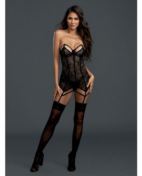 Lace Garter Slip with Thong Panty Black XS