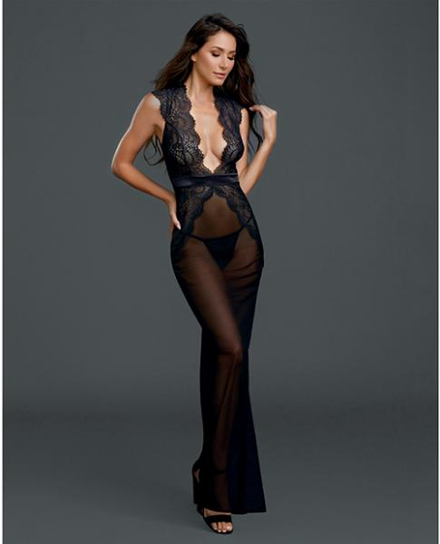 Sheer, Lace Gown with G-String Black XL
