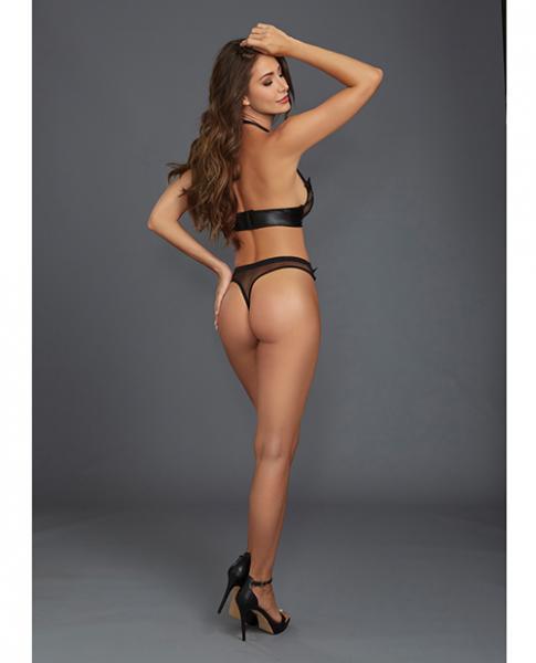 Lace, Sheer Mesh Halter Underwire Bra & Thong Black XL